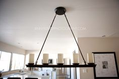 Simple  Wrought Iron Pillar Candle Chandelier and pillar candle tray chandelier