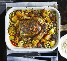 Spanish chicken with chorizo, potatoes & chickpeas
