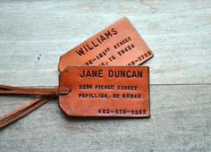 Set of 2 Custom Leather Luggage Tags. Stamped with Your Name, Address, and Phone Number.