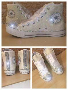 Custom handmade Women's WHITE or IVORY Glitter by CrystalCleatss