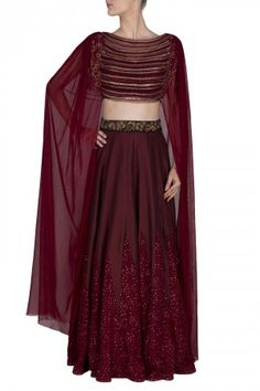 Maroon cotton silk panel embroidered lehenga with attached dupatta blouse available only at ridhimabhasin.com