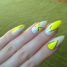 yellow acrylic nails neon