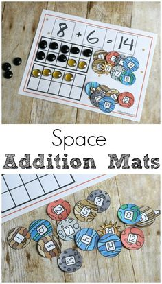 Make math hands on and fun with space addition mats. Counting, addition, ten frames, and all the great ways to practice addition!