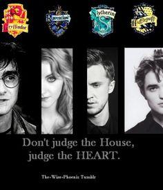 Harry Potter - Gryffindor, Luna Lovegood- Ravenclaw, Draco Malfoy- Slytherin, and Cedric Diggory- Hufflepuff