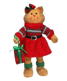 Love this Girl Cat Holding Gift Figurine on #zulily! #zulilyfinds