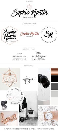 Branding Package Rose Gold Hexagon Script Logo  Photography