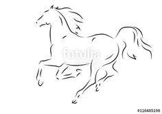 "Download the royalty-free vector ""Sketch of silhouette of running horse ""…"
