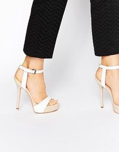 80029a7a065 Shop Carvela Gown Platform White Leather Heeled Sandals at ASOS.
