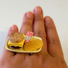 Kawaii Cute Japanese Miniature Food Ring - Breakfast Meal - Sandwich and Hash Browns