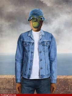 son of man painting | Son of Man by Magritte Wearing Denim pictures