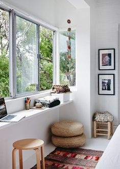 designed-for-life:  Lacking space? A great space solution using a bay window. Be clever with the space and use thicker painted wood and once you're done with your newly created study nook, remove the stool, clear everything from the surface and place some cushions, a throw and VOILA! You have yourself seating to enjoy the views or simply the sun. Or why not buy some beautiful cane baskets to hide anything unsightly and store under the bench.
