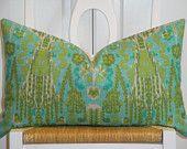 Decorative Pillow Cover - 12 x 20 - Throw Pillow - Accent Pillow - Aqua - Blue - Olive Green - IKAT Pillow - Lumbar Pillow