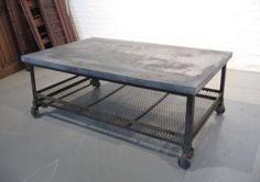 Tables - Oversized galvanized Merchantile metal coffee table silver sturdy urban industrial wheels blue ocean traders - coffee table