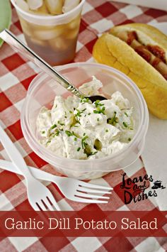 This recipe for Garlic Dill Potato Salad is the perfect dish for a summer party. Oven Recipes, Side Dish Recipes, Great Recipes, Salad Recipes, Favorite Recipes, Amazing Recipes, Side Dishes, Sweets Recipes, Thanksgiving Recipes