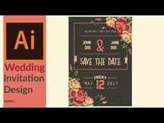 Modern wedding invitation designing in adobe illustrator - YouTube