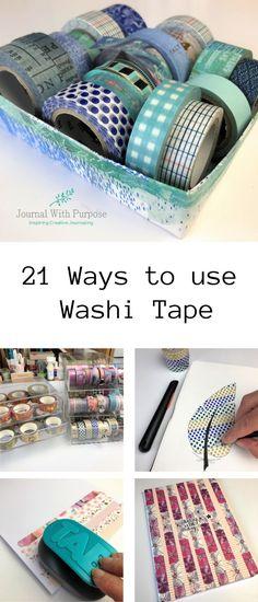 21 Ways to Use Washi Tape Diy Washi Tape Storage, Diy Washi Tape Crafts, Washi Tape Uses, Duck Tape Crafts, Craft Storage, Duct Tape, Masking Tape, Washi Tapes, Tape Art