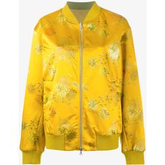 Dries Van Noten Runway  'Vismes' Reversible Floral Print Bomber Jacket ($900) ❤ liked on Polyvore featuring outerwear, jackets, yellow, yellow jacket, multi coloured jacket, reversible bomber jacket, double zipper jacket and floral bomber jacket