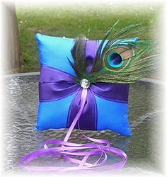 Peacock Themed Wedding Ring Bearer Pillow  by WildExpressionsBride, $30.00