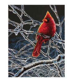 """Ice Cardinal Counted Cross Stitch Kit-11""""X14"""" 14 Count, , hi-res"""