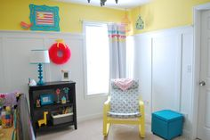 Love how the colors pop in this bright nursery. #yellow #turquoise #pink