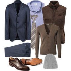 Vest: Von Braun Suit: Lardini Cardigan: Von Braun  Shirt: Truzzi Tie and beanie: Viola Milano  Shoes: Meermin