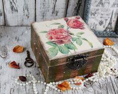 """Купить Шкатулка """"Французский сад"""" - комбинированный, шкатулка с розами, шкатулка с цветами, шкатулка декупаж"""