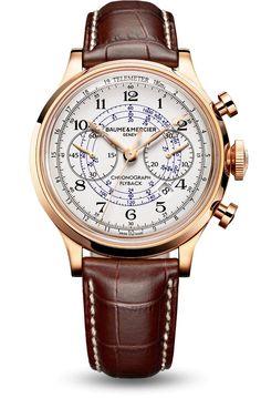 Découvrez la montre chronographe en or rouge pour homme Capeland 10007, conçue par Baume et Mercier, manufacture de montres suisses.