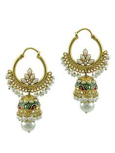gold,white brass jhumka earring