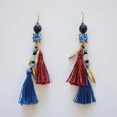 Maroon & Cobalt Blue Boho Silk Tassel Earrings