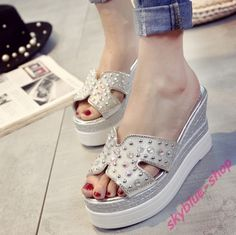 Womens  Peep Toe Glitter Rhinestone Platform Wedge High Heel Slippers Sandals