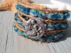 mermaid bracelet w/ leather and glass beads