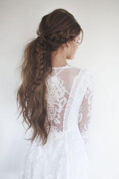 white lace dress + pony braid hair