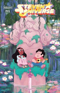 Steven Universe issue 11 is out! Here's the cover I did for it. I've had the Monet-esque image of Steven and Connie sitting beneath one of R. Steven Universe Issue 11 (A) Cover Steven Universe 2017, Rose Quartz Steven Universe, Universe Art, Steven Y Connie, Cartoon Network Tv, Fanart, Painting Lessons, Learn To Paint, Comic Covers