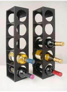 "A pair of Rutherford Wine Racks in black for $99.00. Find it and more at WineRacks.com!    One of the most versatile wine racks for wine enthusiasts. Optimize space in your kitchen or in your dining area while still keep your wines visible and accessible. Come in a set of two, will hold 10 bottles per set.    Features:    - Color: Black  - Can be wall mountable and stackable, hold 5 bottles per rack  - Oak wood veneer  - Dimension: 5"" x 5 ½"" x 20 ¾"""