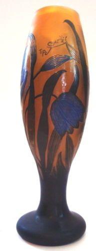 """Galle' Tip Signed 9½"""" Etched Glass Vase Cobalt Flowers Leaves Estate   eBay"""