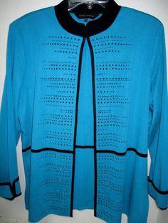 MING WANG Rhinestone Black & Turquoise Jacket Blazer Sz XL Gorgeous Fall Career #MingWang #BasicJacket