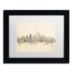 Trademark Fine Art Seattle Skyline Sheet Music Canvas Art by Michael Tompsett White Matte, Black Frame, Size: 16 x 20
