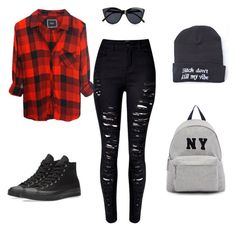 """""""school"""" by juliasosl ❤ liked on Polyvore featuring Rails, Le Specs, Converse and Joshua's"""