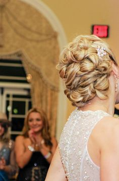 Wedding up do for long blond hair
