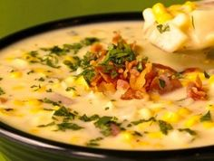 This crock pot corn and potato chowder is perfect for a cool fall gameday, and it's super simple to throw together.