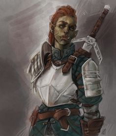 [Art][OC] Bruck, half-orc Fighter/Mercenary, by me! Fantasy Character Design, Character Creation, Character Design Inspiration, Character Concept, Character Art, Dungeons And Dragons Characters, Dnd Characters, Fantasy Characters, Fantasy Figures