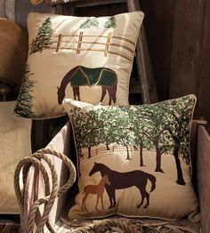 "All Weather Equestrian Pillows. The outdoor/indoor  equestrian pillow collection is made of Sunbrella® fabric, which is designed to repel water and be fade resistant. Highly-detailed, top-quality embroidery enhance the heather beige background. Durable piping trim and a hidden zipper for cleaning. Good size pillow (20""x 20"") to enjoy for multiple uses and locations.  s."