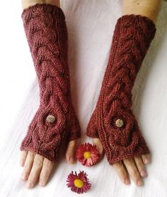 Oxford Red Long Hand Knit Dark Red Cable Pattern Fingerless Gloves