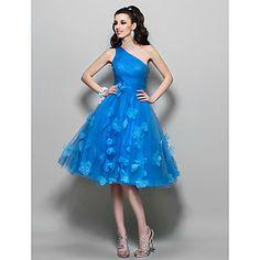vestido de uma linha de um ombro na altura do joelho tule cocktail / baile (699.373) – BRL R$ 278,46