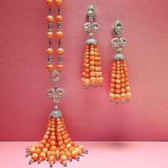 Coral bead sautoir with white #diamond rose cuts and matching earrings