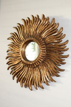1940's French painted gold and plaster starburst mirror
