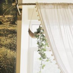 Shop Pompom Curtain at Urban Outfitters today. We carry all the latest styles, colors and brands for you to choose from right here. Pom Pom Curtains, Hanging Curtains, Drapes Curtains, Metal Planters, Hanging Planters, Home Yoga Room, Bathroom Window Treatments, Uo Home, Wall Shelf Decor