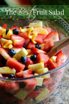 The Best Fresh Fruit Salad has a Secret Ingredient & it's delicious! This delicious fruit salad has a secret ingredient that makes it The Best Fruit Salad! It's great for family get togethers, brunches and makes a great side dish for dinner too! Best Fruit Salad, Fruit Salad Recipes, Fruit Salad Watermelon, Fruit Salsa, Dinner Dishes, Side Dishes, Antipasto, Fruit Dishes, Cooking Recipes