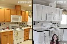 painting kitchen cabinets - before & after. Wow, before pic is like my kitchen now. After pic is almost exactly how I want my kitchen to look. Keeping this to show the hubs what I'm talking about.