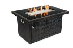 Patio Outland Fire Table, Aluminum Frame Propane Fire Pit Table w/Black Tempered Glass Tabletop Resin Wicker Panels & Arctic Ice Glass Rocks, Model 401 BTU Auto-ignition (Espresso Brown) Patio Furniture Fire Table Propane, Outdoor Propane Fire Pit, Outdoor Fire, Outdoor Heaters, Outdoor Living, Fire Pit Furniture, Wicker Furniture, Furniture Update, Wicker Sofa